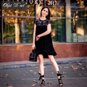 Image 4 - Women Brand Design Vestidos Elegant Party Casual Vintage Apricot Short Sleeve Lace Pleated Ruffled Chiffon Dress for Wedding