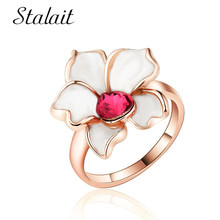 цена на Charm White Flower Ring For Female Fashion Mosaic Red Crystal Water Drop Rose Gold Color Ring Women Engagement Party Gift