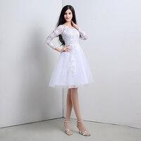 Белые короткие Свадебное платье линия Кружева Тюль одежда с длинным рукавом Мини до колена Длина свадебное платье плюс Размеры индивидуаль