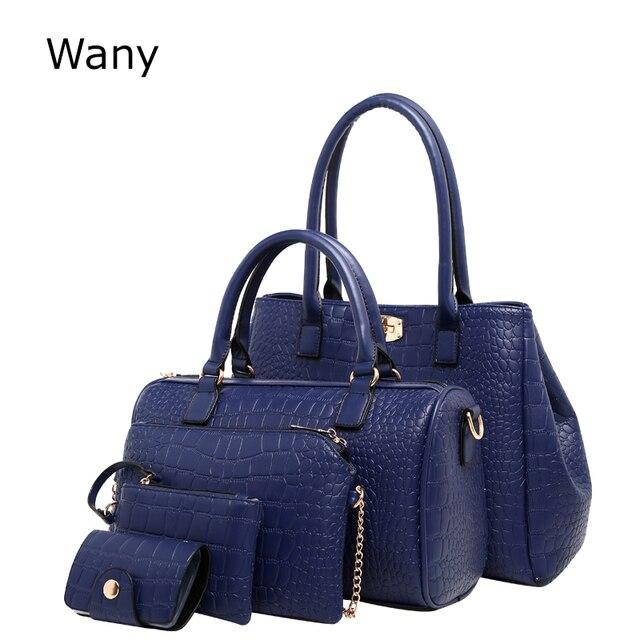 8a3af118c691c المرأة حقيبة يد 5 قطعة المجموعة الساخن بيع السيدات مركب حقيبة الأزياء  التمساح الحبوب حقيبة كتف جديد حقيبة ساعي حمل