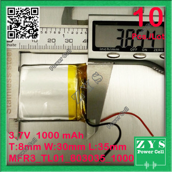 10 pcs. 823035 3.7V 1000mah Lithium polymer Battery with Protection Board For PDA Tablet PCs Digital Products 8x30x35mm 083035
