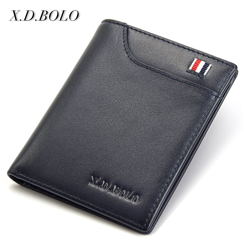 X.D.BOLO Business Design Top Genuine Leather Card Holder Purse Small Wallet Men