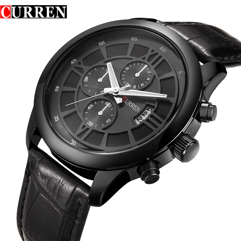2017 New CURREN Fashion Sports Men Watches Quartz Watch Calendar Clock Leather Strap Military Waterproof Wristwatches 8137 weide new men quartz casual watch army military sports watch waterproof back light men watches alarm clock multiple time zone