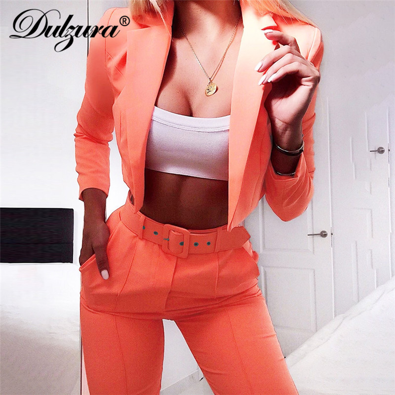 Dulzura 2019 Autumn Women Suits Jacket Coat Outerwear High Waist Costume Blazer Set Pants Suit Office Ladies Plus Size Two Piece