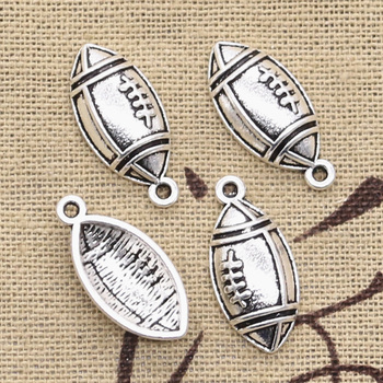 30 sztuk Charms rugby piłka nożna 22x10mm antyczne srebro kolor wisiorki naszyjnik diy rzemiosło dokonywanie ustalenia Handmade tybetański biżuteria tanie i dobre opinie eunwol Ze stopu cynku Moda like photo Metal Archiwalne Sport