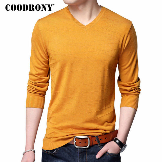 337d1eafc20d COODRONY Knitted Wool Pullover Men Casual V-Neck Sweater Men Brand Clothing Mens  Cotton Sweaters