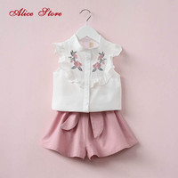 2017 Summer Korean Baby Girls Clothing Set Children Heart Shirt Bow Shorts Suit 2pcs Kids Floral