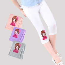 Girls Leggings Cotton Cartoon Calf-Length Pants For Girls Summer Trousers