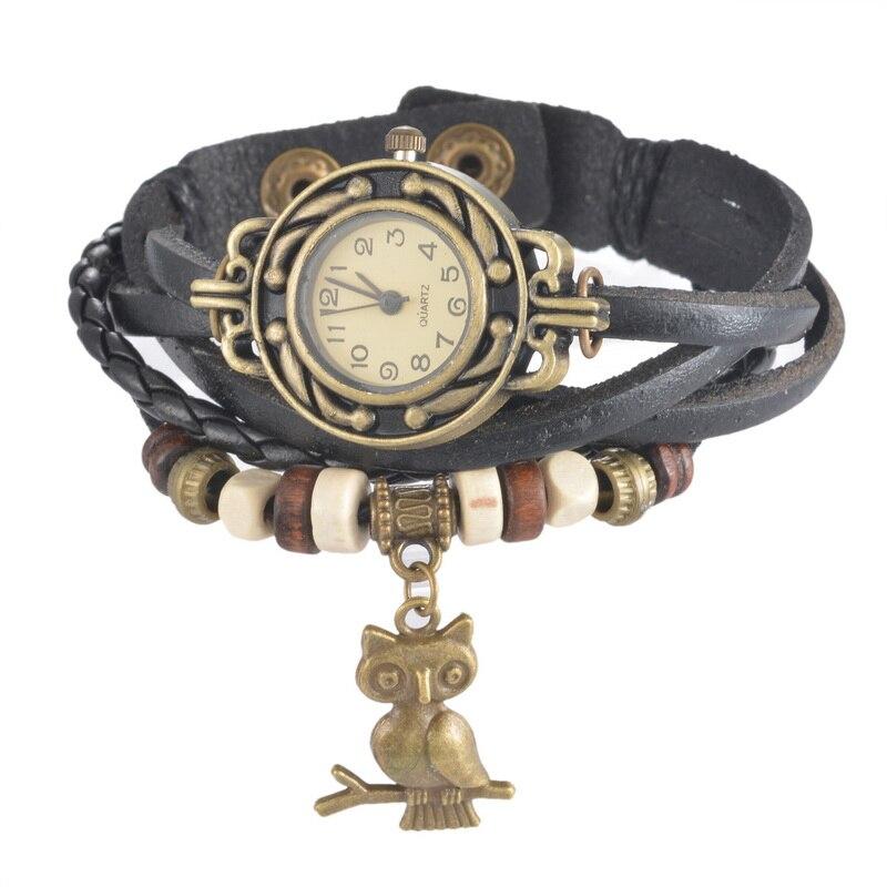 Doreen Box PU Leather Quartz Wrist Watches DIY Weave Owl Jewel Animal Multilayer Battery Included 21cm(8 2/8) long, 1 Piece