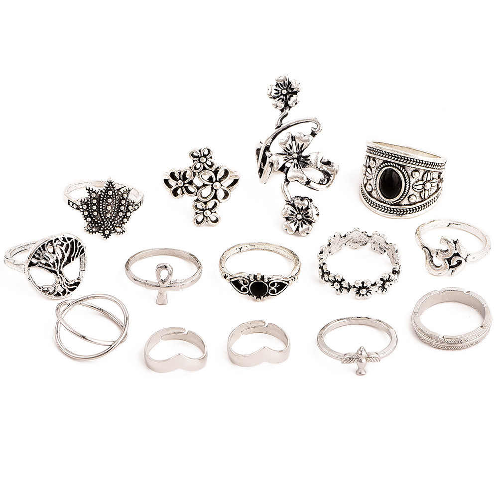 Vintage Silver Color Flower Bird Tree Ring Female Bohemian Knuckle Rings Women Fashion Jewelry Gothic Engagement Ring