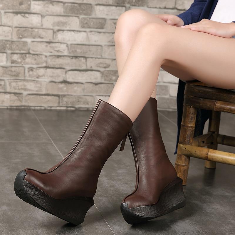 2018 VALLU Hiver Chaussures Femmes Bottes Mi-mollet En Cuir Véritable À La Main Vintage Glissière au Dos Bottes de Neige Dames Bottes Chaudes