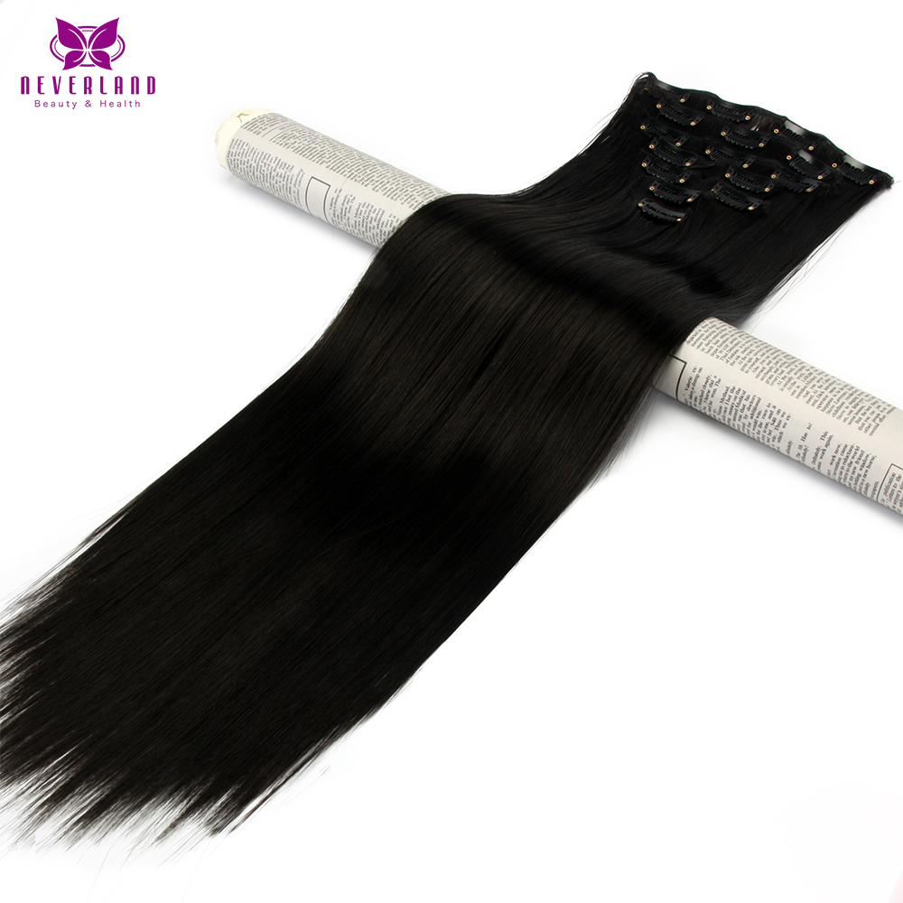 Neverland 1B Black 7pcs set 16Clips Full Head 60cm Straight Synthetic Hairpieces Heat Resistant Fiber Clip