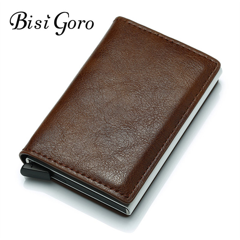 BISI GORO 2019 Smart Wallet Business Card Holder Hasp Rfid Wallet Aluminum Metal Credit Business Mini Card Wallet Drop shoppingBISI GORO 2019 Smart Wallet Business Card Holder Hasp Rfid Wallet Aluminum Metal Credit Business Mini Card Wallet Drop shopping