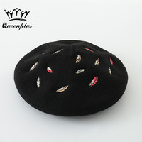 100 Colored Leaves Embroidery Warm Wool Winter Women Beret Hat For Sweet Girl Gift Autumn And