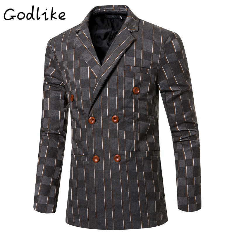 GODLIKE 2018 male double-breasted and long-sleeved cotton suits/Men's business casual fashion suit/Men striped suit/size M-3XL