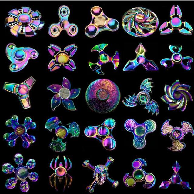 Fidget Spinner Rainbow Flower Dragon Eye Skull Wheel New Model Design Finger Hand Color