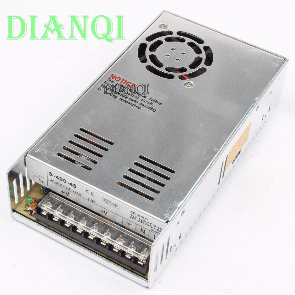 DIANQI 400W 48V 8.3A Single Output Switching power supply for LED Strip light AC to DC LED Driver power suply 400w S-400-48 single output dc 36v 11a 400w switching power supply for led light strip 110v 240v ac to dc36v smps with cnc electrical equipmen