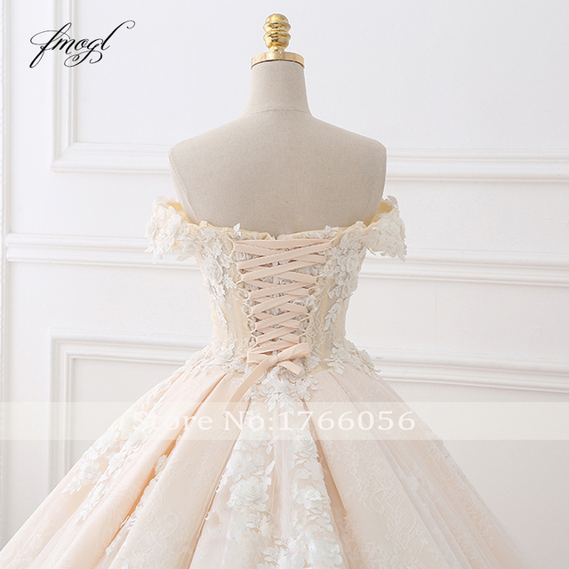 Fmogl Royal Train Sweetheart Ball Gown Wedding Dresses 2021 Appliques Flowers Vintage Lace Bride Gowns Vestido De Noiva 5