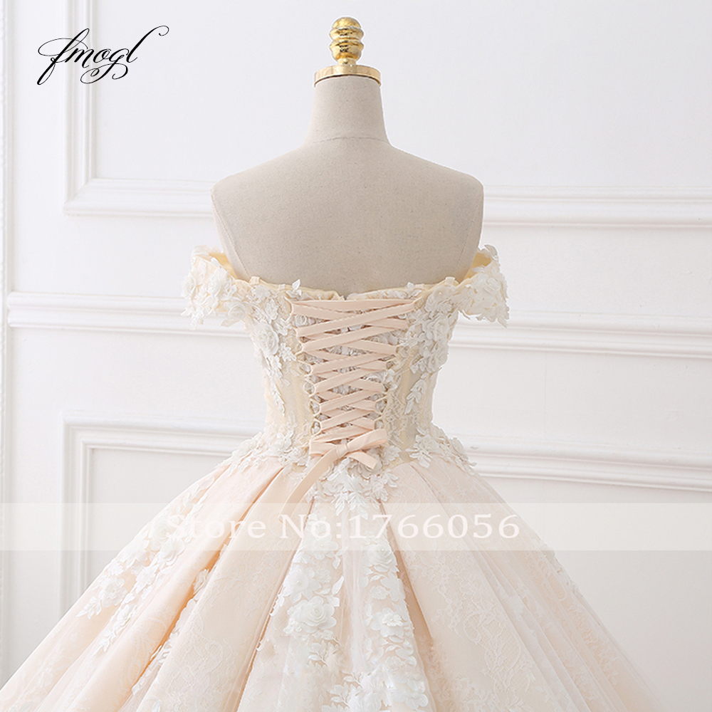 Image 5 - Fmogl Royal Train Sweetheart Ball Gown Wedding Dresses 2020 Appliques Flowers Vintage Lace Bride Gowns Vestido De Noivavestido de noivade noivagown wedding -