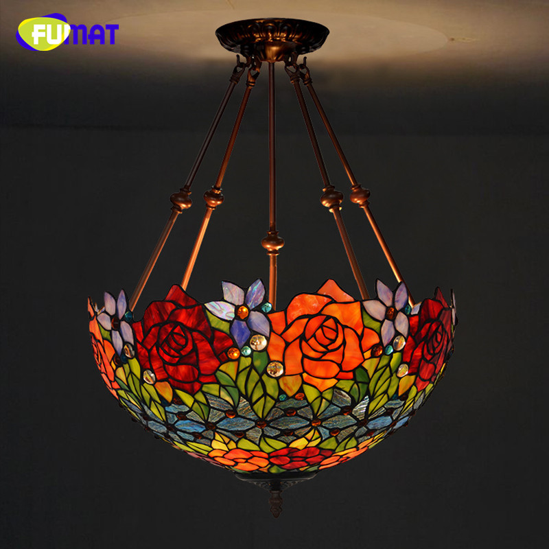 цены  Tiffany Suspension Lamp Art Stained Glass Rose Lamp Living Room Restaurant European Style Tiffany Pendant Lights