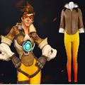 OW Tracer Cosplay Costume Super Hero Woman Battle Suits Brown Winter Jacket with Berber Fleece +Yellow Pants Custom Made