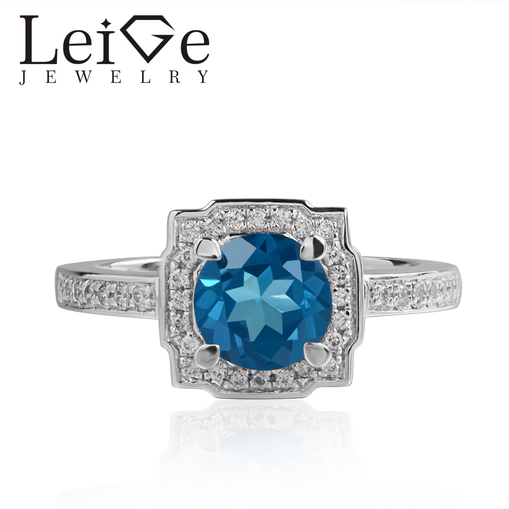Leige Jewelry Swiss Topaz Rings Blue Gemstone Round Cut Halo For Woman 925 Sterling Silver Romantic Gift RingLeige Jewelry Swiss Topaz Rings Blue Gemstone Round Cut Halo For Woman 925 Sterling Silver Romantic Gift Ring