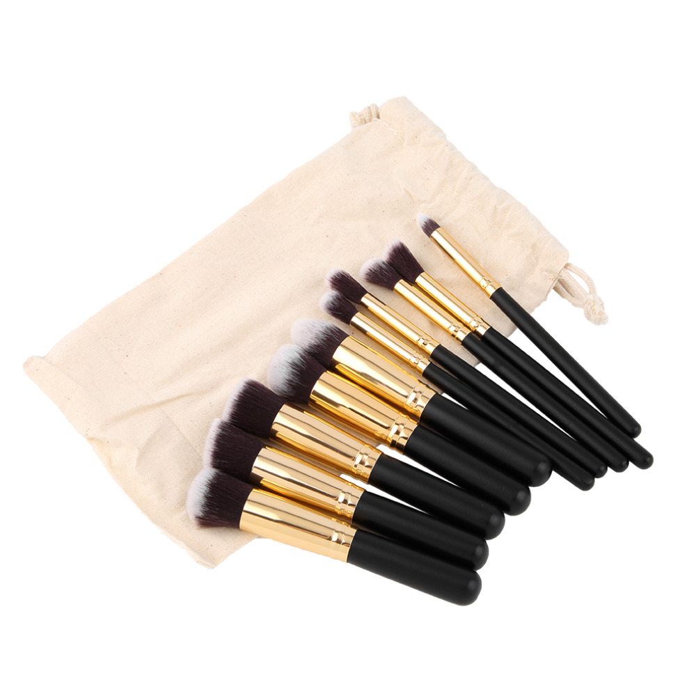 10 Pcs Professional Makeup Brushes Set Make up Brushes Cosmetic Eyeshadow Face Powder Foundation Lip Brush Kit with Makeup Bag free shipping durable 32pcs soft makeup brushes professional cosmetic make up brush set