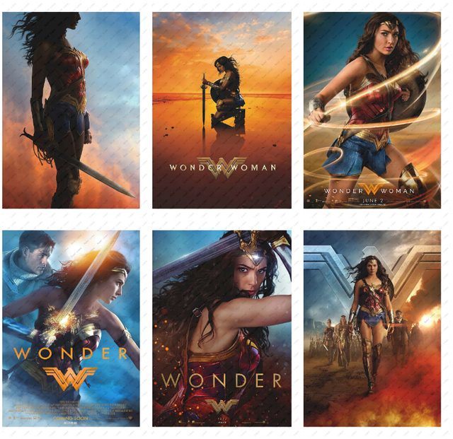 Wonder Woman Moive Poster Decorative paintings Wall stickers White Kraft Poster