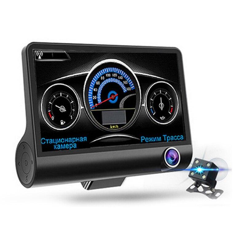 3 en 1 Radar voiture Dvr Gps Tracker 4.0 pouces 3 voies caméras enregistreur vidéo Radar détecteur Dashcam caméscope voix russe