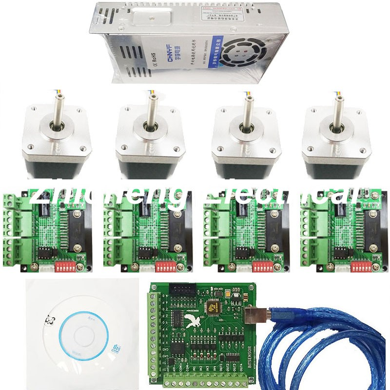 CNC mach3 USB 4 Axis Kit, 4pcs TB6560 driver+ mach3 USB stepper motor controller board+ 4pcs nema17 stepper motor +power supply free shipping high quality 4 axis tb6560 cnc stepper motor driver controller board 12 36v 1 5 3a mach3 cnc 12