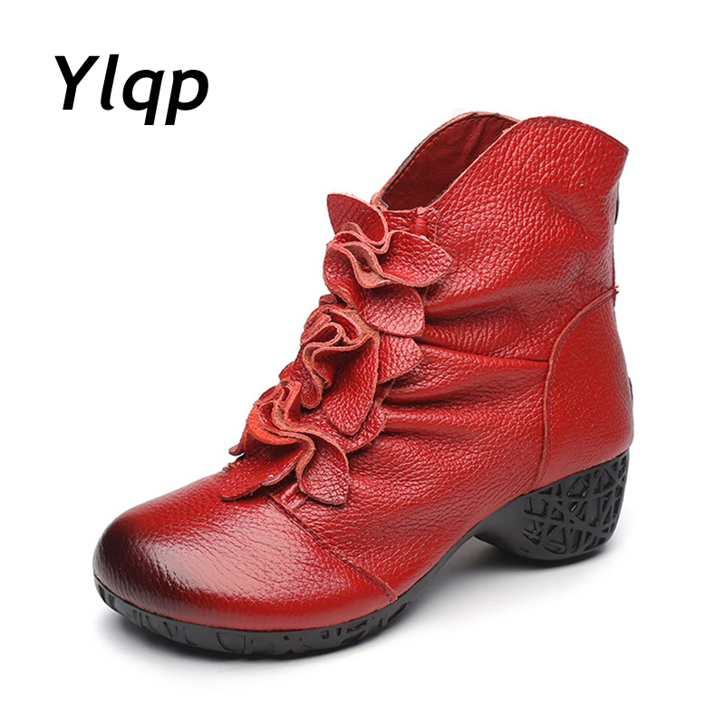 все цены на Ylqp 2018 Vintage Martin Boots Genuine Leather Boots for Women Folk Style Mother Boots Handmade Winter Warm Shoes онлайн