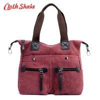 Double Pocket Zipper Women Messenger Bags Vintage Quality Canvas Handbags Casual Women Crossbody Shoulder Bag Big Tote Wholesale