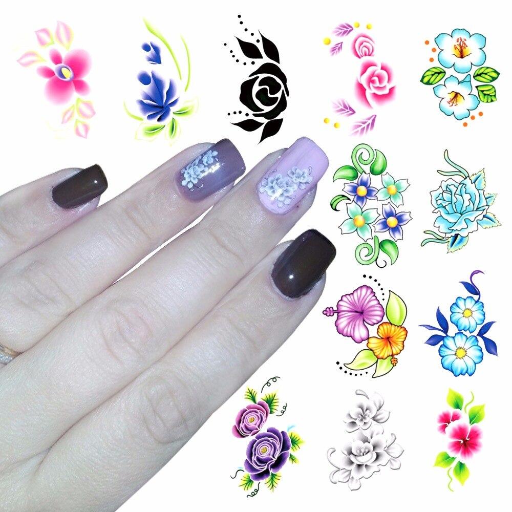 FWC 1 Hoja de Blooming Flower Nail Art Tatuajes de Transferencia de Agua Etiquet
