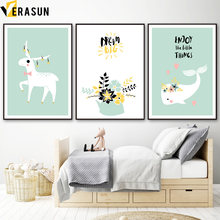 Cartoon Deer Whale Leaf Bream Big Quote Nordic Posters And Prints Wall Art Canvas Painting Wall Pictures For Kids Room Decor(China)