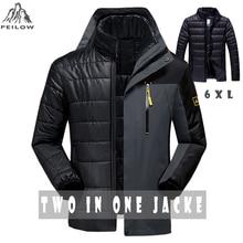 PEILOW Winter jacket men fashion 2 in 1 outwear thicken warm parka coat women`s Patchwork waterproof hood men jacket size M~6XL
