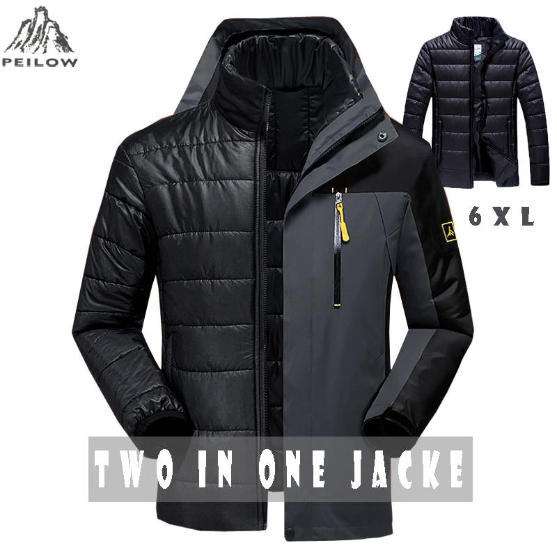 Peilow冬のジャケット男性のファッション2 in 1の上着を厚く暖かいパーカーコート女性のパッチワーク防水フード男性ジャケットサイズM〜6 XL