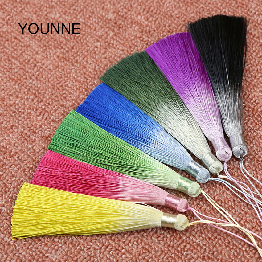 YOUNNE Women Fashion Bag Tassel Accessories Gradient Color Tassel Lot Silk Tassels DIY Jewelry Accessories For Handbag Pendant