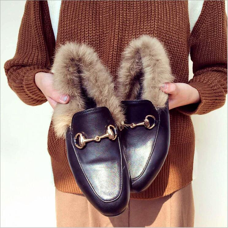 Genuine Leather Women Korean style real rabbit fur chunky heel bottomed pumps female metal buckle decor leather fur shoesGenuine Leather Women Korean style real rabbit fur chunky heel bottomed pumps female metal buckle decor leather fur shoes