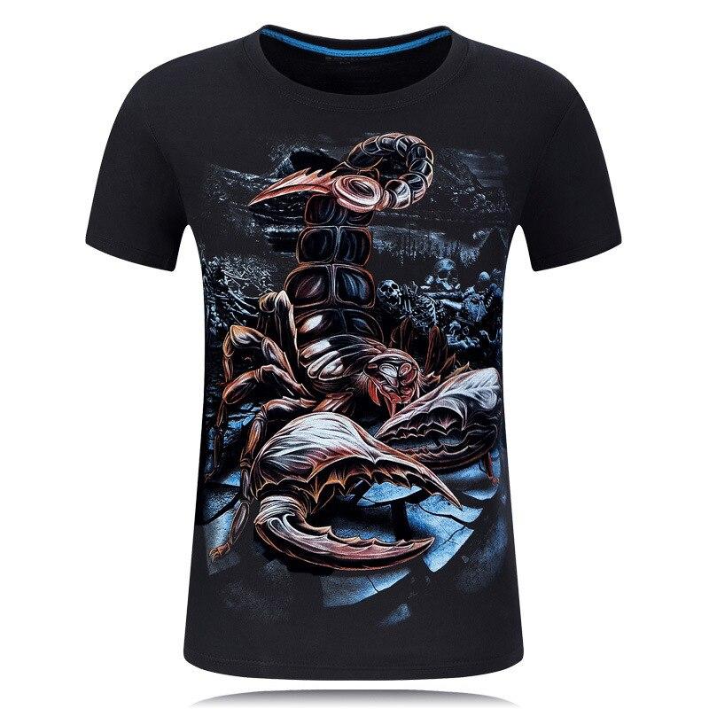 Short Sleeve male Shirt  Men t-shirt Summer T-shirts 3D printed Scorpion Floral Print Tshirt Homme Hip Hop Streetwear slim fit