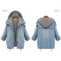 Women Coat Jackets Autumn Winter Ladies Long Sleeve Hooded Warm Denim Jackets Female Outwear Clothes Sets