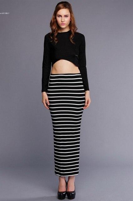 Леди женщин растениеводство топы комплект полосатый Bodycon стретч сексуальная одежда комплект с длинным рукавом блузка + длинная юбка комплект 29