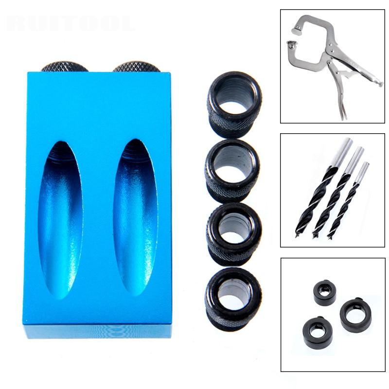 Juego de Jig de agujeros de bolsillo sistema Mini madera Jig paso broca 6mm 8 10 juego para herramientas de carpintería DIY