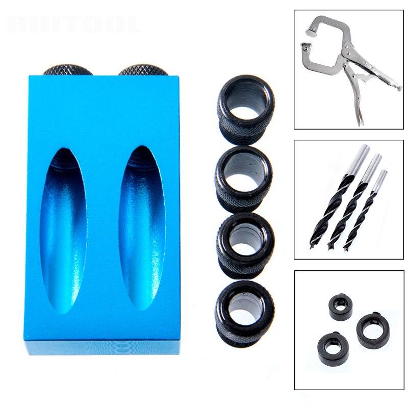 Tasche Loch Jig Kit System Mini Holz Jig Schritt Bohrer Bit 6/8/10mm Set Für DIY holzbearbeitung Werkzeuge