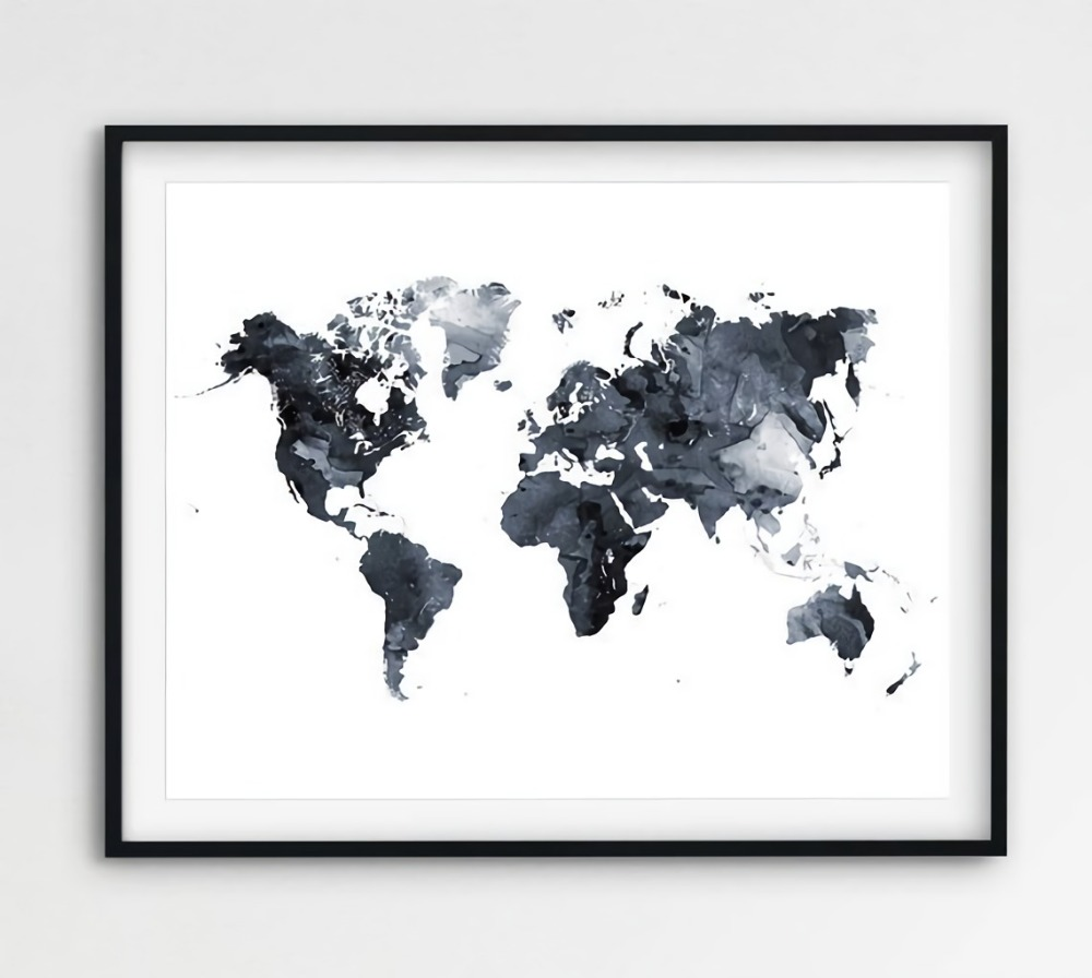 World Map Poster Watercolor Grey Black And White Canvas Painting Oil 100%Hand Painted On Home Decor