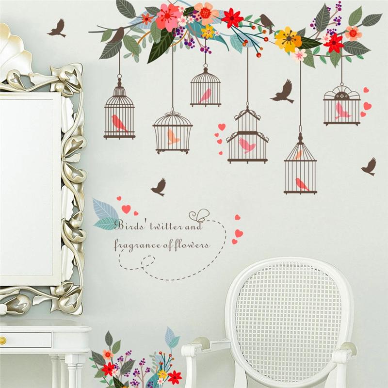 Красочные цветы птица клетка стены стикеры для гостиной плакаты 3D Цветочный Сад Свадебные украшения ПВХ стены искусства наклейки