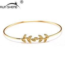 Браслет-манжета листья открыть посеребренная золото браслеты & браслет женский мода женщин