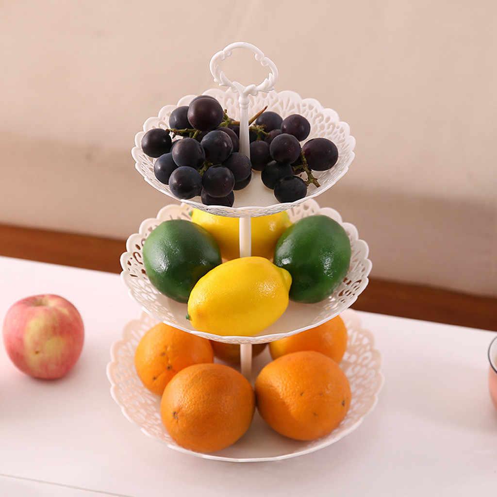 3-Tier Cupcake Stand Kue Penyimpanan Makanan Penutup Pernikahan Acara Pesta Display Tower Piring Bulat Buah Piring Stand Tray Rangement MASAKAN