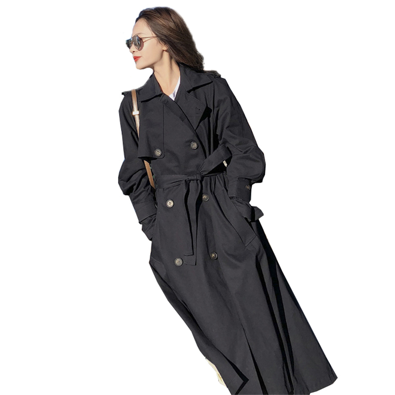 2018 Women   Trench   Coat Casual Lapel Long Sleeve Autumn Long Coat Female Slim Double Breasted Windbreaker With Belt Outwear O756