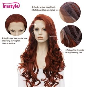 Image 5 - Imstyle Rode Pruik Lace Front Pruiken Voor Vrouwen Lange Golvende Synthetische Lace Front Pruik Hittebestendige Vezel Lijmloze Cosplay Gember pruiken