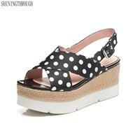 High Heels women Sandals girl's wedges platform shoes woman Summer style silk polka dot casual Shoes Woman
